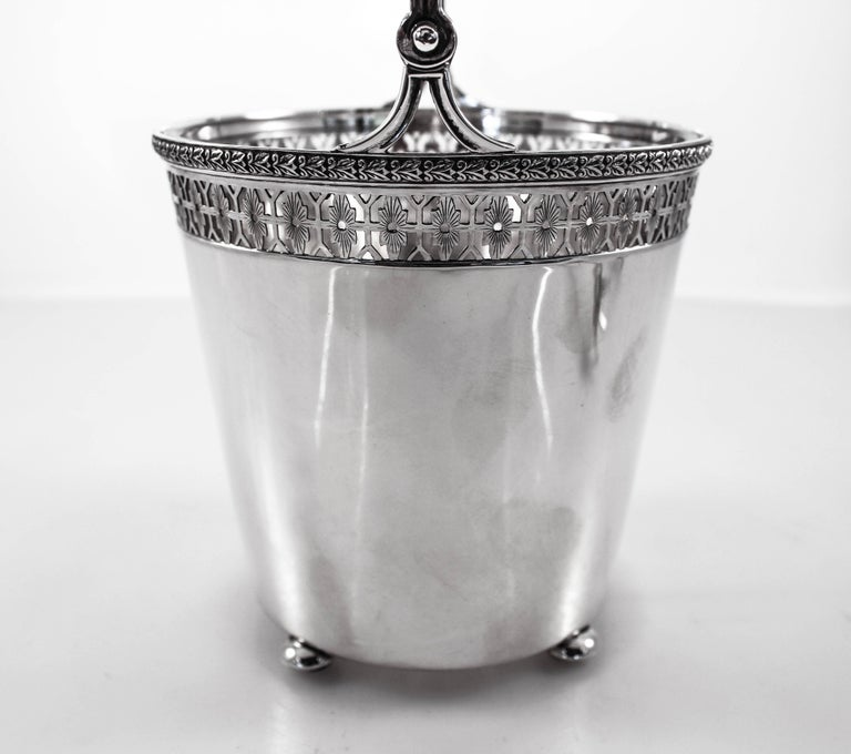 Mid-20th Century Sterling Ice Bucket and Tongs For Sale