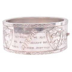 "Sterling Inscribed Biblical ""Mizpah"" Bangle, circa 1880"