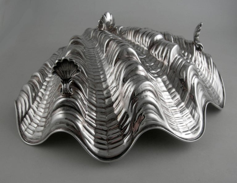 Sterling Messulan Giant Footed Clam Shell Dish For Sale 1