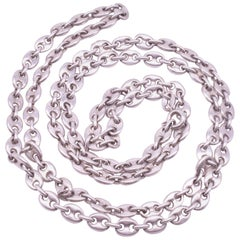 """Sterling Midcentury Nautical """"Gucci"""" style chain Necklace with Anchor Links"""