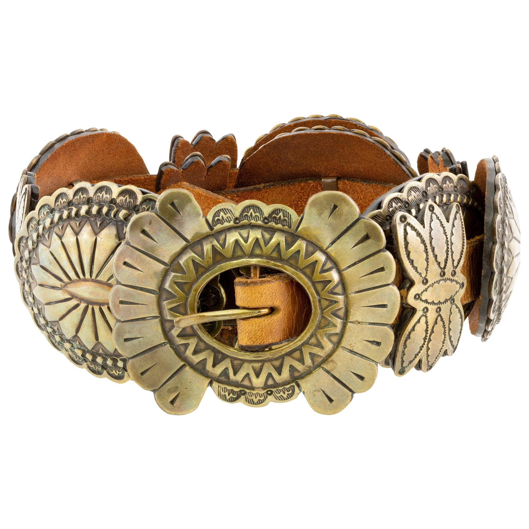 Sterling Navajo Concho Belt with Golden Patina