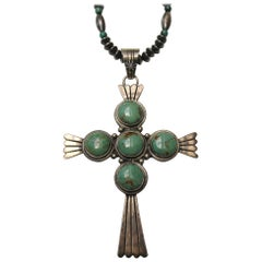 Sterling Navajo Turquoise Cross Necklace