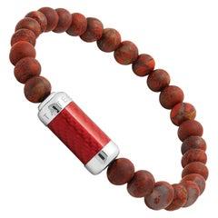 Sterling, Red Alutex, Semi Precious Rainbow Jasper Beaded Bracelet
