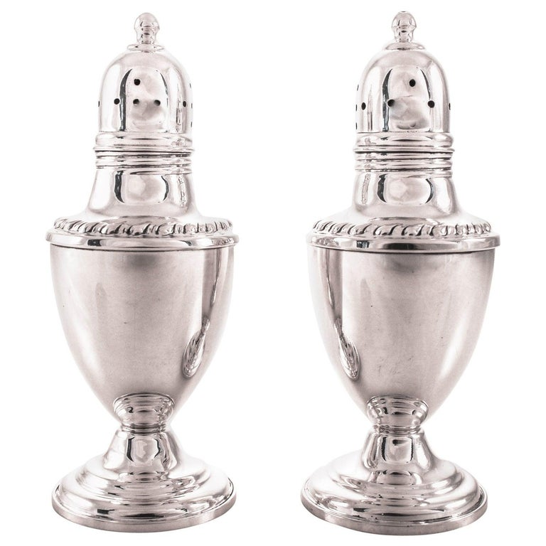 Sterling-silver salt and pepper shakers, 1946, offered by Raymond Sasson Silver