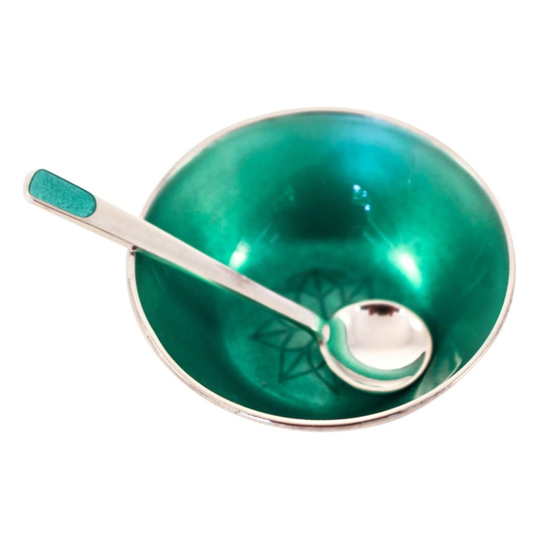Sterling Salt Cellar with Spoon For Sale