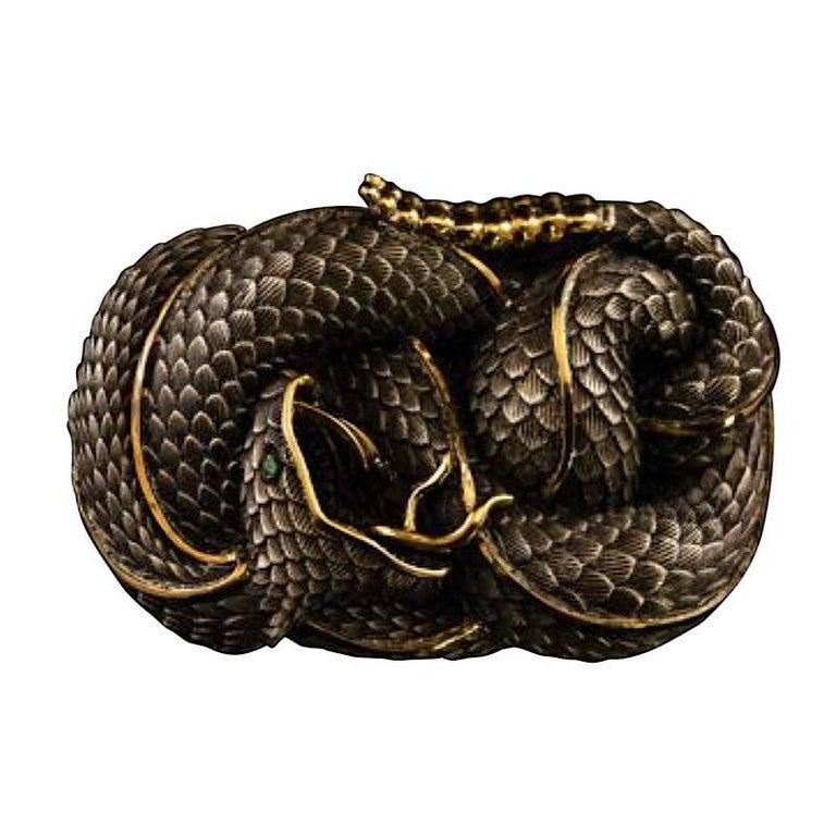 Sterling Silver and 22 Karat Gold Snake Style Belt Buckle with Tsavorite Eye