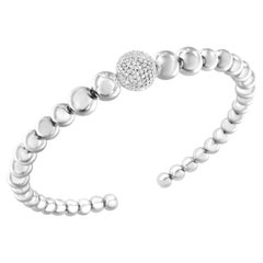 Sterling Silver Diamond Rondelle Graduated Ball Bead Cuff Bangle Bracelet