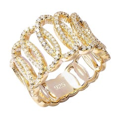 Sterling Silver 1.38 Carat Pave Set Round Cut Claw Set Band Designer Band Ring