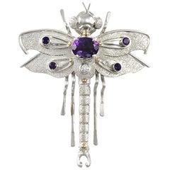 Sterling Silver 14 Karat Amethyst Dragonfly Brooch/Pin