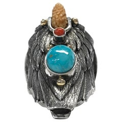 Sterling Silver 14 Karat Carico Lake Turquoise Coral Eagle Ring