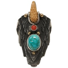 Sterling Silver 14 Karat Carico Lake Turquoise Coral Eagle Ring II