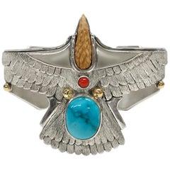 Sterling Silver 14 Karat Carico Lake Turquoise Petite Eagle Cuff Bracelet