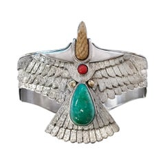 Sterling Silver 14 Karat Carico Lake Turquoise Coral Eagle Cuff Bracelet