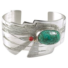 Sterling Silver 14 Karat Green Carico Turquoise Cuff