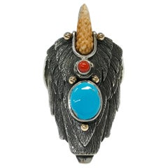 Sterling Silver 14 Karat Kingman Turquoise Coral Eagle Ring