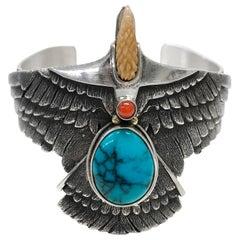 Sterling Silver 14 Karat Kingman Turquoise Eagle Cuff Bracelet