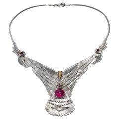Sterling Silver 14 Karat Ruby Eagle Necklace