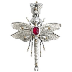 Sterling Silver 14 Karat Ruby Pendant/Brooch