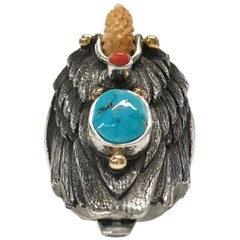 Sterling Silver 14 Karat Sleeping Beauty Turquoise Coral Eagle Ring
