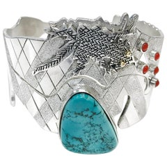 Sterling Silver 14 Karat Stormy Mountain Turquoise Dual Snake Toad Cuff