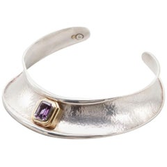 Sterling Silver 18 K Gold 9.5 CT Emerald Cut Amethyst Collar