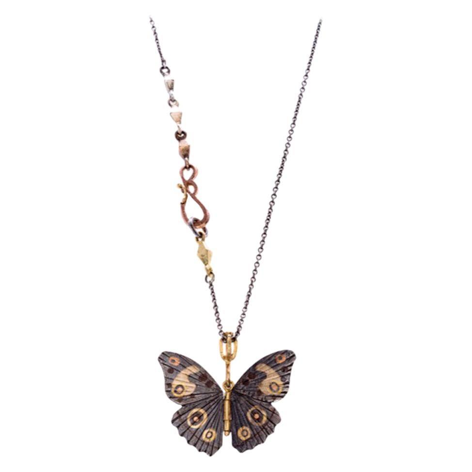Sterling Silver 18 Karat Copper Bronze Inlay Buckeye Butterfly Necklace