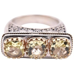 Sterling Silver 18 Karat Gold Accents Lemon Quartz Three-Stone Engraved Ring