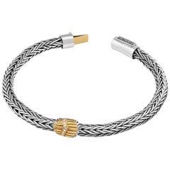 Sterling Silver, 18 Karat Gold and Diamond Egyptomania Braided Scarab Bracelet