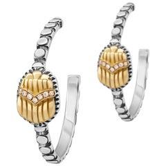 Sterling Silver, 18 Karat Gold and Diamond Egyptomania Scarab Hoop Earrings