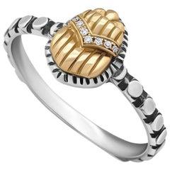Sterling Silver, 18 Karat Gold and Diamond Egyptomania Scarab Stacking Ring