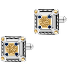 Sterling Silver, 18 Karat Gold and Sapphire Classic Calligraphy Cufflinks
