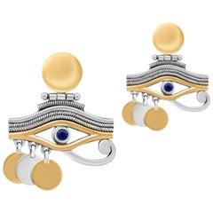 Sterling Silver, 18 Karat Gold and Semi-Precious Stone Eye of Horus Earrings