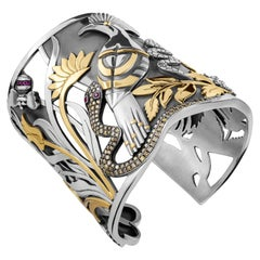 Sterling Silver, 18 Karat Gold, Champagne Diamond and Ruby Hoopoe Cuff Bangle