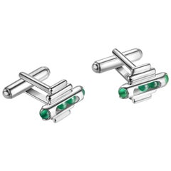 Sterling Silver, 18 Karat Gold Finishing, Green Chalcedony-Melody Cufflinks