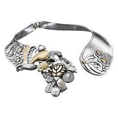 Sterling Silver, 18 Karat Gold, Pearl and Diamond Statement Garden Collar