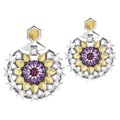 Sterling Silver, 18 Karat Gold, Ruby and Amethyst Mamluk Barsbay Earrings