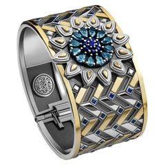 Sterling Silver, 18 Karat Gold, Sapphire and London Blue Topaz Mamluk Bangle