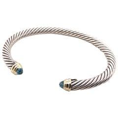 Sterling Silver, 18 Karat Yellow Gold David Yurman Cuff Bracelet with Blue Topaz