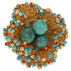 Sterling Silver 22 Karat Gold-Plated Genuine Turquoise Ring