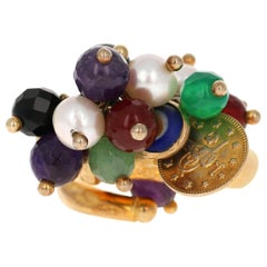 Sterling Silver 22 Karat Gold-Plated Multi-Stone Bead Ring