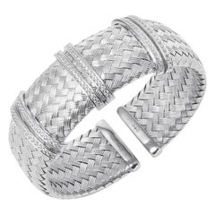 Sterling Silver 23mm Mesh Cuff with CZ, Rhodium Finish