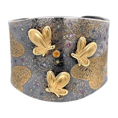 Sterling Silver, 24k and 18k Yellow Gold Butterfly Cuff with Colored Sapphires
