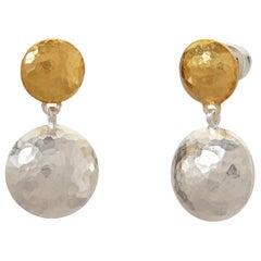Sterling Silver & 24KY Drop Earrings