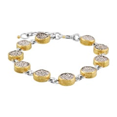 Sterling Silver & 24KY Druzy Quartz Bracelet