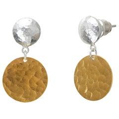 Sterling Silver & 24KY Hammered Drop Earrings