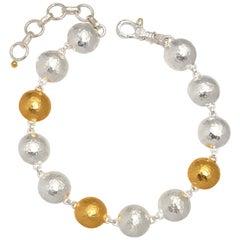 Sterling Silver & 24KY Lentil Bracelet