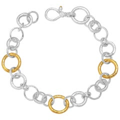 Sterling Silver & 24KY Mixed Size Round Link Bracelet