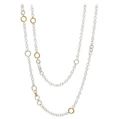 Sterling Silver & 24KY Mixed Size Round Link Chain Necklace