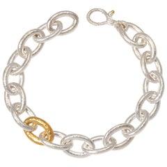 Sterling Silver & 24KY Oval Link Bracelet