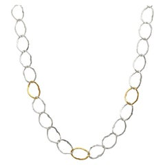 Sterling Silver & 24KY Oval Links Necklace